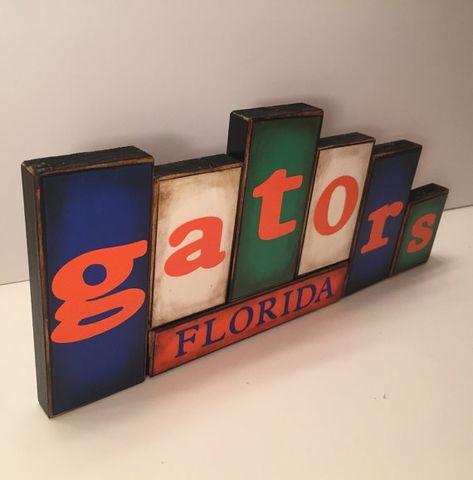 Gators blocs - Université de la Floride Gators - signe mot Blocks - jeu de bloc en bois