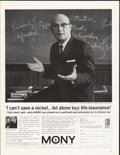 1962 Mutual Of New York Life Insurance Vintage Ad I Can T Save A