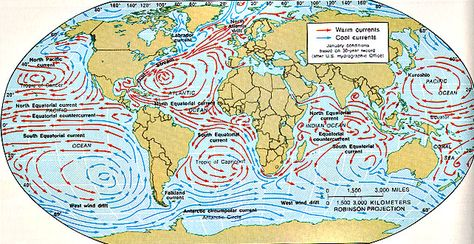 Pacific Ocean Currents Map ocean currents ocean current and geography 642 X 331 pixels