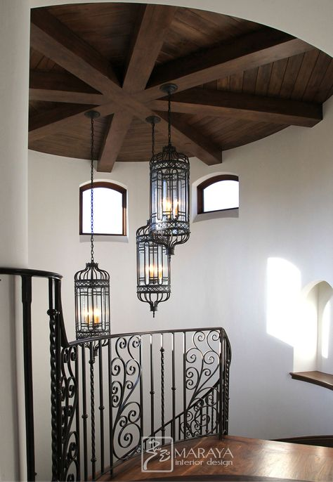 Maraya Interiors Beamed Rounded Ceiling With Custom Wrought