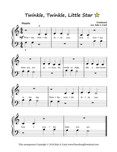 Twinkle Twinkle Little Star Easy Piano Sheet Music To Print
