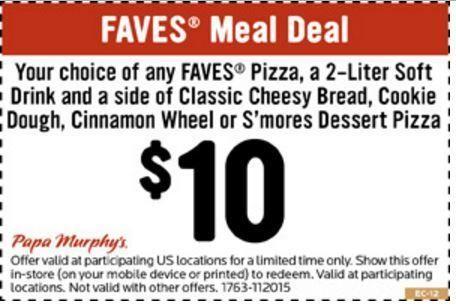 Papa Murphys Coupon Faves Meal For 10 Printable Coupons Free Printable Coupons Meal Deal