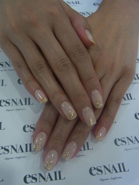 Beige x gold nail