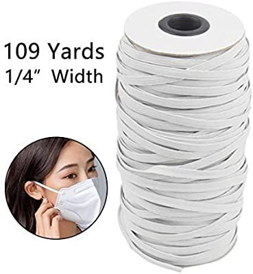 Amazon Com 109 Yard 1 4 Inch Stretchy Earloop Cord Stretchy Rope Band For Sewing Crafts Diy Bedspread Cuff 109 Ya In 2020 Elastic Rope Diy Face Mask Sewing Elastic