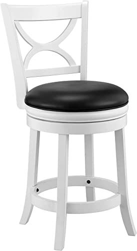 Buy Ball Cast Jayden Hardwood Counter Height Swivel Bar Stool Faux Leather Upholstery 24 Inch Farmhouse White Online Seetopstar In 2020 Swivel Bar Stools Bar Stools Adjustable Bar Stools