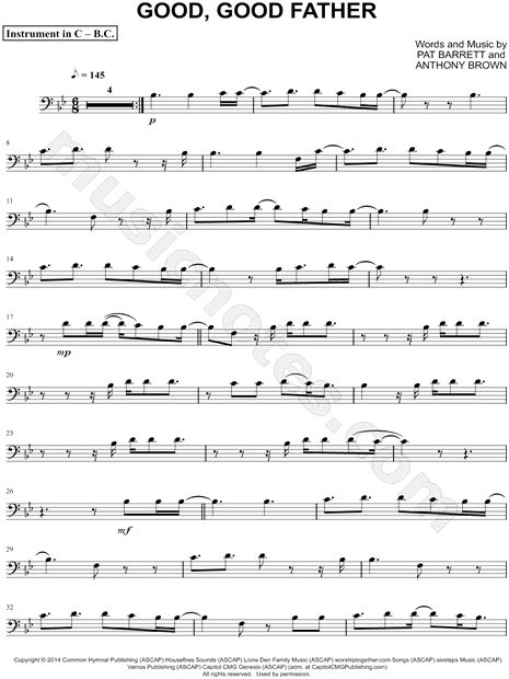 Print and download Good, Good Father - Bass Clef Instrument sheet