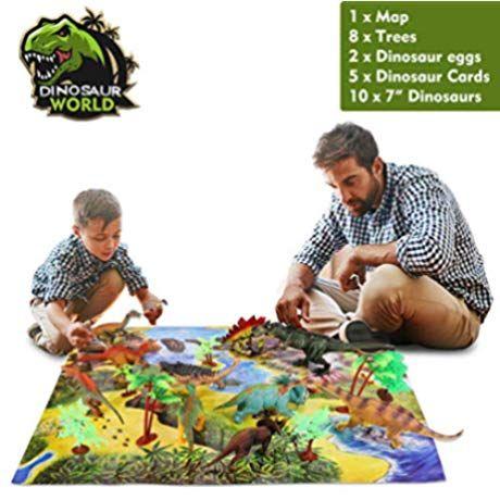 Temi Dinosaur Toy Figure With Activity Play Mat Trees Educational Realistic Dinosaur Playset To Create A Dino World Inc Dinosaur Toys Dinosaur Dinosaur Play