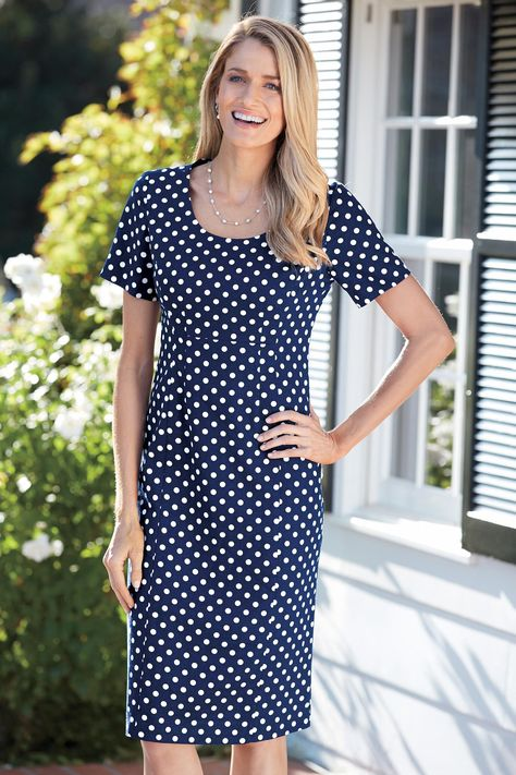 3d2c0e4a Perfect Fit Linen Sheath Dress. This vintage inspired blue and white polka  dot dress is beautiful for special occasions, work and weekends.
