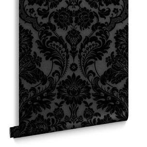 Victorian Damask Black Gold Wallpaper Black Wallpaper Superfresco Easy In 2020 Plum Wallpaper Damask Wallpaper Bedroom Damask Wallpaper