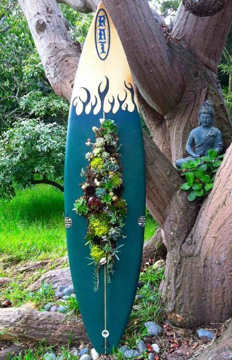 Surfbrett Deko Aus Sukkulenten Vertikaler Garten Idee Buddha Upcycling Fur Den Garten Sukkulenten Topfe Sukkulenten