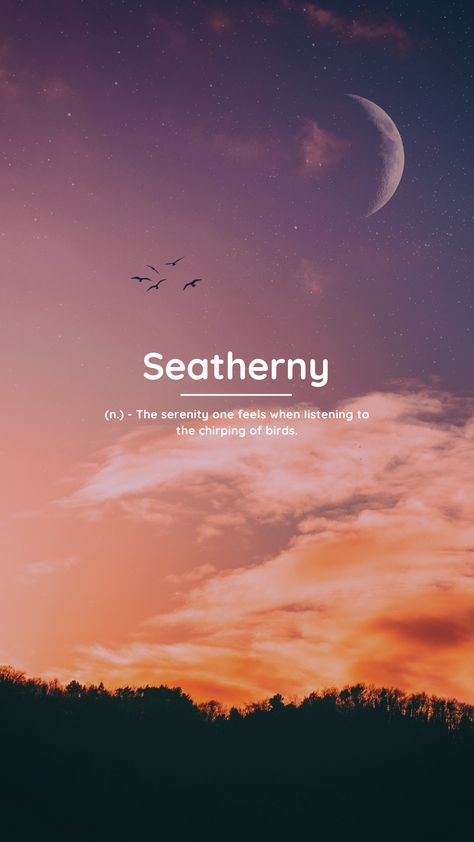 Seatherny (n.) – The serenity one feels when listening to the chirping of birds. #beautifulwords #uniquewords #wistful #wallpapers #coolwords #tattooideas #quotes #onewordquotes #moods #aesthetic #aestheticwallpaper unusual words, meanings #wordswithmeaning #deepwords #skywallpaper