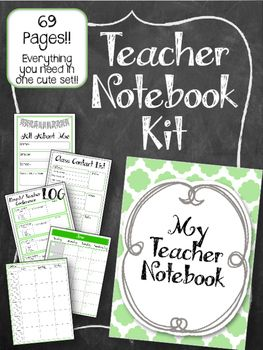 This Teacher Notebook Kit has everything you need to make a complete GREEN AND GREY teachers notebook! EVERYTHING you need grade book, lesson plan, contact list. And more!! All in one cute notebook.  I use mine in an Arc Notebook system (from staples)...
