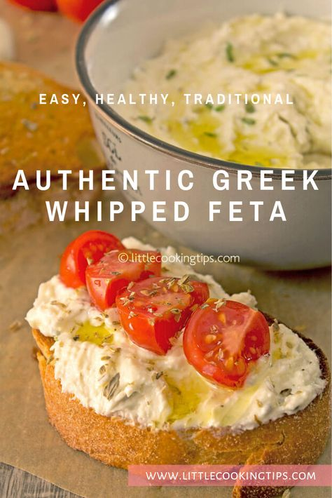 An authentic, traditional recipe for Greek whipped feta. Known as tyrosalata in . Tonic East healthy appetizer recipes An authentic, traditional recipe for Greek whipped feta. Known as tyrosalata in Greece, this popular feta spread is Healthy Eating Tips, Clean Eating Snacks, Healthy Recipes, Appetizer Recipes, Appetizers, Feta Cheese Recipes, Whipped Feta, Greek Dishes, Mediterranean Diet Recipes