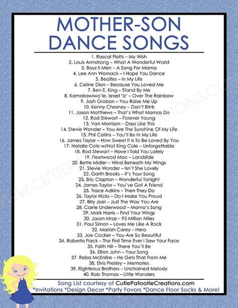 FREE Printable List of Top 40 Mother Son Dance Songs for Bar Mitzvah and Weddings by Cutie Patootie Creations. SHOP www.cutiepatootiecreations.com