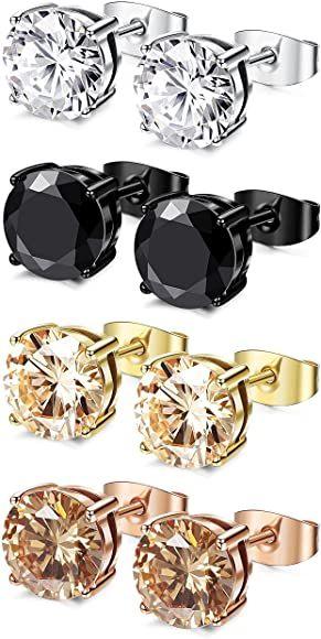 Amazon.com: FIBO STEEL 4 Pairs Stainless Steel Round Stud Earrings for Men Women Ear Piercing Earrings Cubic Zirconia Inlaid, 3 mm: Jewelry