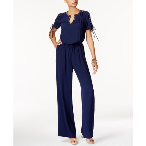 13da8110e2f Michael Michael Kors Embellished Lace-Up Jumpsuit ( 195) ❤ liked on  Polyvore featuring jumpsuits