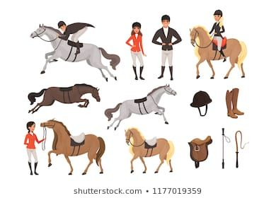 Cartoon Jockey Icons Set With Professional Equipment For Horse Riding Woman And Man In Special Uniform With Helmet Horse Riding Helmets Jockey Horse Blankets