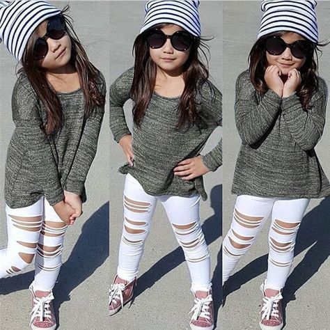a43b66560dd78 Toddler Kids Baby Girls Outfits Long T-Shirt Tops Hole Jeans Pants Clothes  Set #ebay #Fashion