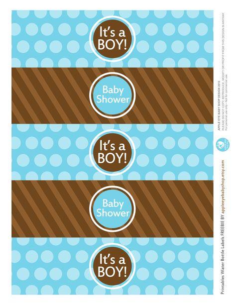 {Free Printable  Baby BOY Water Bottle Labels} Freebie by http://www.etsy.com/shop/appleeyebabyshop?ref=si_shop #printable  #freebies #diy #print #free #label #babyshower #boy #waterbottle
