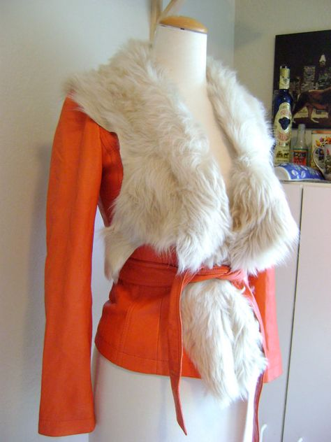 Ultra Supple Soft Butter Red Leather Jacket with Stunning Fur Trim. $265.00, via Etsy.