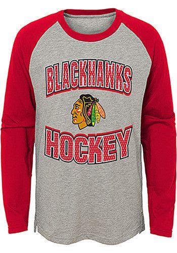 the best attitude eeecb 13531 Chicago Blackhawks Youth Grey Assist Long Sleeve Fashion T ...