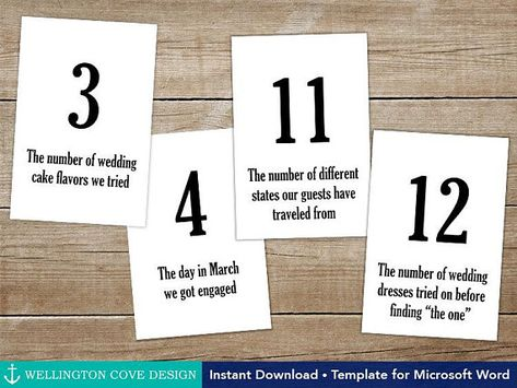 Wedding Fun Facts Table Numbers Editable Template for