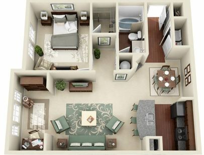 3d Furnished Small Apartment Floor Plans Sims House Plans Small House Plans