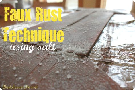 DIY Faux Rusted Metal using salt.