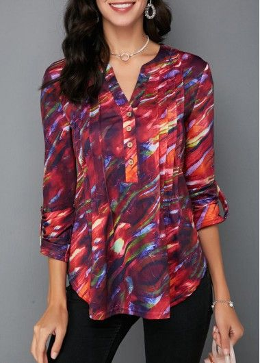 2e2a67b5f43042 Split Neck Crinkle Chest Button Detail Printed Blouse in 2018 ...