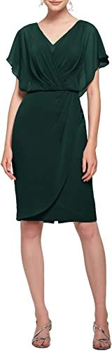 AW BRIDAL Mother of The Bride Dresses Plus Size V-Neck Short Sleeve Formal Prom Dress for Wedding Guest Women