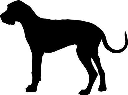 Great Dane Dog Breed Silhouette Natural Ears Custom Vinyl Decal