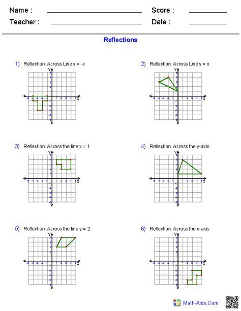 Geometry Reflection Worksheet In 2020 Geometry Worksheets Reflection Math Transformations Math