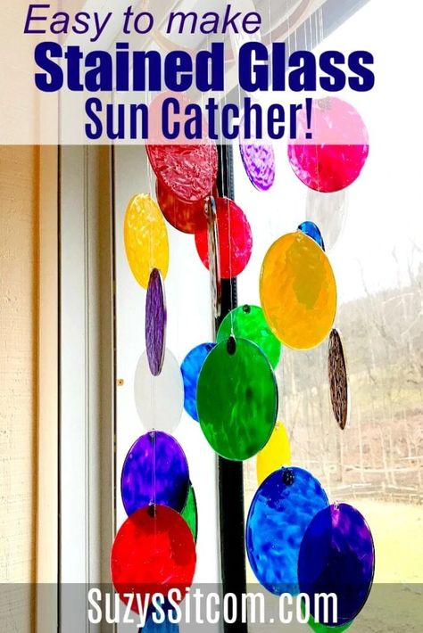 Add a bit of fun color to your window and learn how to make a beautiful and easy DIY faux stained glass sun catcher! A great craft for kids or adults. #ideasforthehome #kenarry