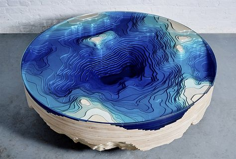 Layered Marble Acrylic Glass Table Showing The Depth Of The - Incredible layered glass table mimics oceans depths