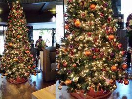 3 Mtr Kerstboom Kokusai Amstelveen Decoratie Oranje Paars Goud Rood Kerstboom Decoratie Boom
