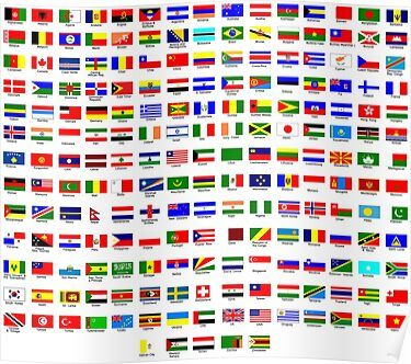 Flags Of The World Poster Flags Of The World World Flags With Names Countries Of The World