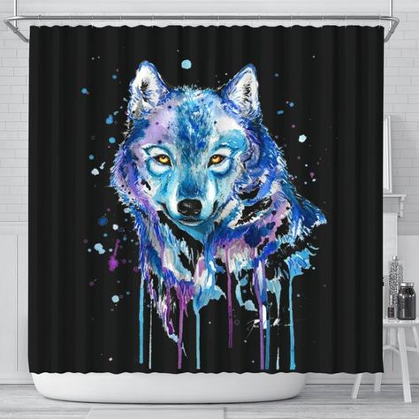 Watercolour Wolf Shower Curtain Watercolor Wolf Wolf Shower