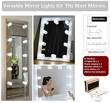 Waneway Hollywood Diy Vanity Lights Strip Kit For Lighted Makeup Dressing Table Mirror Plug In Led Lighting Fixture With Dimmer And Dressing Table Vanity Mirror With Lights Diy Vanity Lights