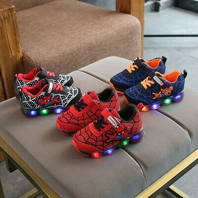 LED Luminous Spider man Kids Sneakers Boys Girls Light Athletic Non Slip Shoes