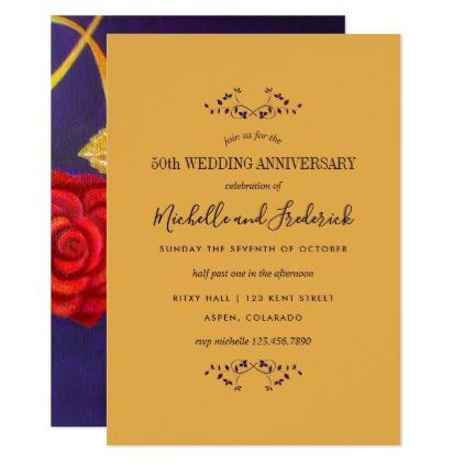 Golden Rose Gift 50th Wedding Anniversary Invite Zazzle