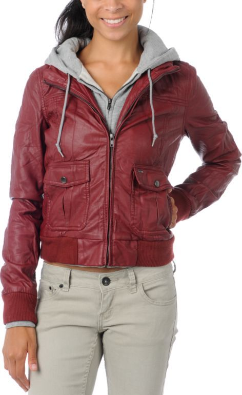 Obey Jealous Lover Dark Red Bomber Jacket | Red bomber jacket ...
