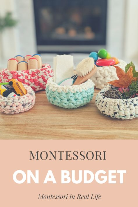 Montessori at Home on a Budget — Montessori in Real Life Montessori Toddler Rooms, Diy Montessori Toys, Montessori Bedroom, Montessori Materials, Montessori Education, Learning Games For Kids, Infant Activities, Playroom Storage, Playroom Decor