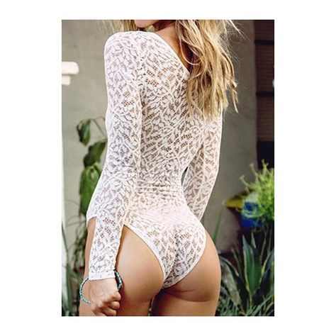 Lace Up White Lace Long Sleeve Mini Bodysuit ($23) ❤ liked on Polyvore featuring white
