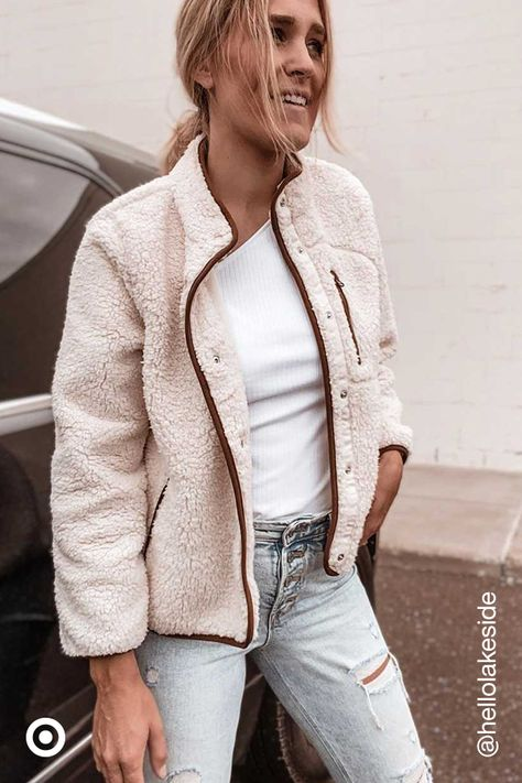 Layer your look with fleece  sherpa jackets. Pair with a cute crop  denim for cozy fall  winter outfits.
