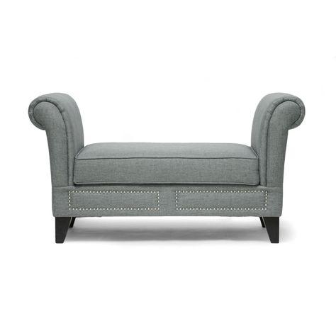 53 Marsha Linen Modern Scroll Arm Bench in Gray ...