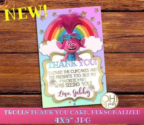 Trolls Thank You Card Personalizedtrolls Birthday Invitationpoppy