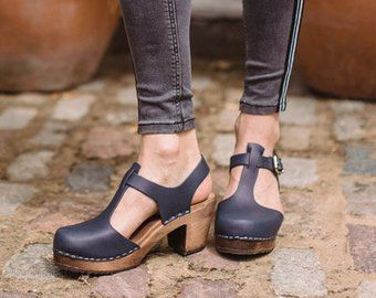 d756dc8b3ff Swedish Clogs Highwood T-Bar Taupe Brown Base Leather by Lotta ...