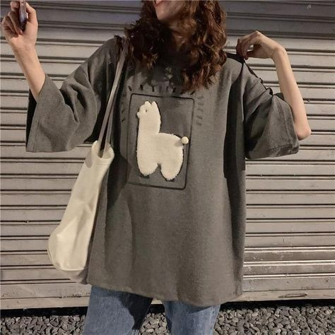 Cartoon Alpaca Animal Printed Casual Loose Oversize Korean Style 2020 Summer Short Sleeve Women Top Female T-shirts - Gray / M