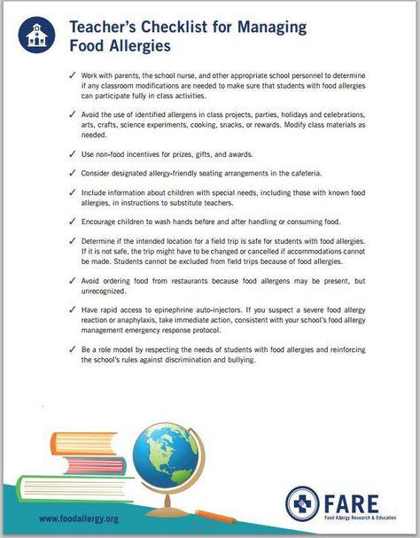#FARE Teacher's Checklist for Managing Food Allergies