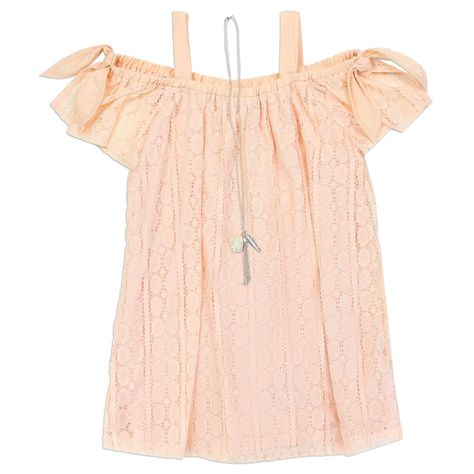 "Girls ""MJ"" Lace Dress W/ Necklace ( BLUSH - PINK) Perfect for casual wear, this short sleeve shift dress from RMLA features an intricate medallion lace design, bow accents on the sleeves, cold shoulder styling, and an elastic neckline. Embroidered/Embellished Imported Machine Wash Tumble Dry A-line Lace Woven Nylon/Spandex Polyester Short Sleeve"